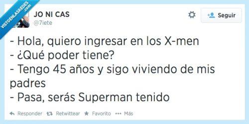 Los X-Men y el superman tenido