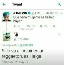J Balvin y Haiga. Chistes sobre música