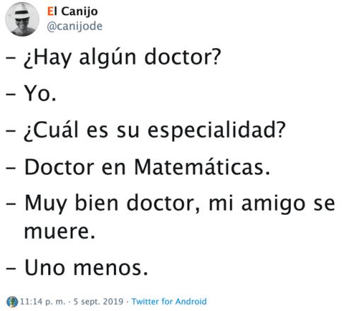 Chistes de médicos y sanitarios doctor en mates